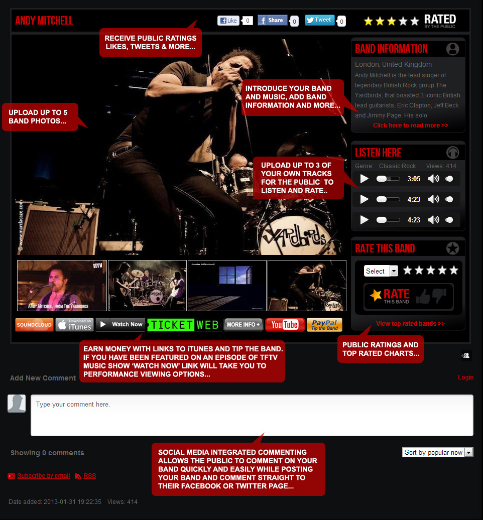 Example Band Members Page